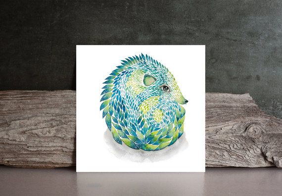 Watercolor Art PRINT  blue green hedgehog by NORAillustration