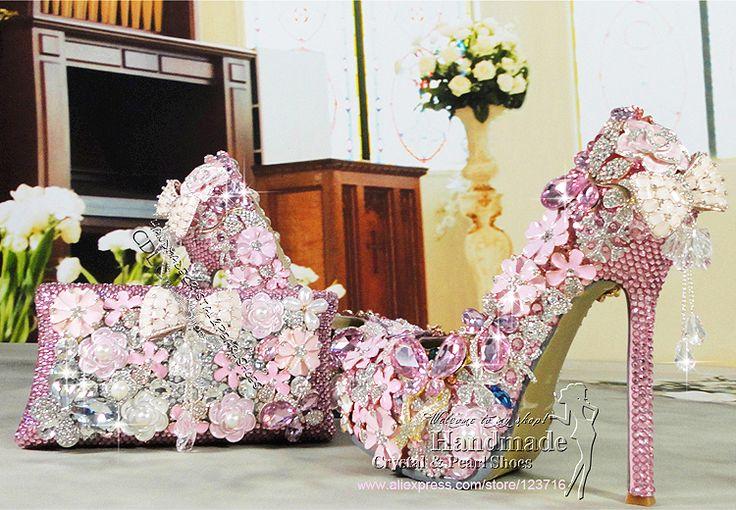 14cm Lady high heel shoes, diamond platform shoes, rhinestone pink girl pumps, dress shoes with matching pink clutch bag $498.30