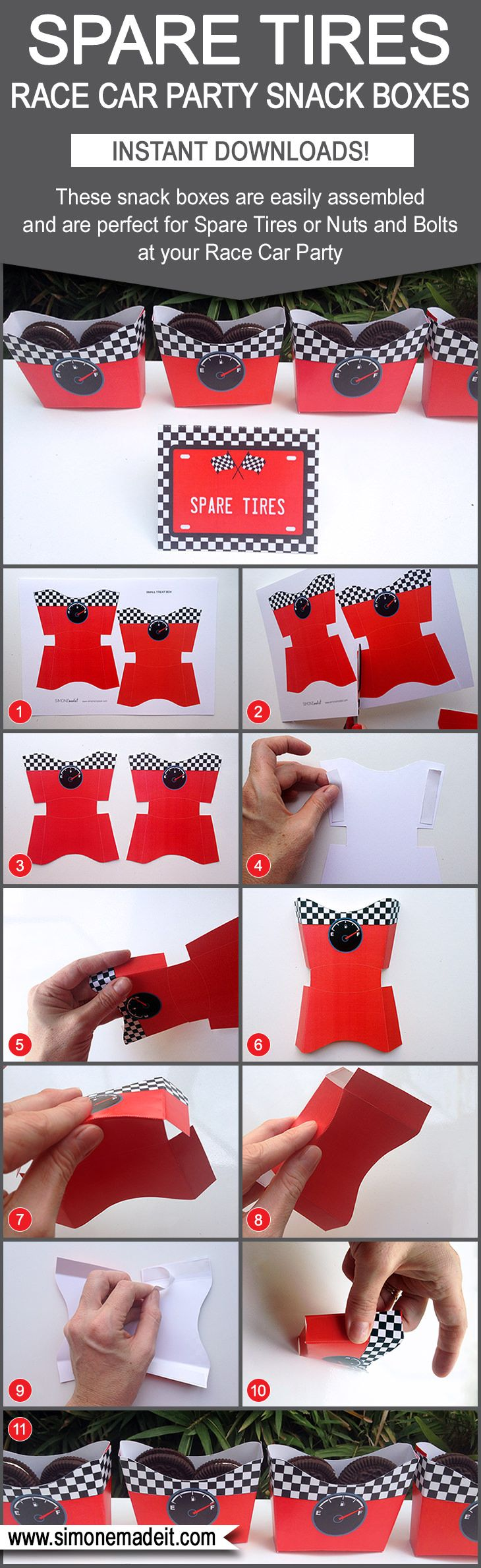 Race Car Party Food Ideas - Spare Tire Snack Boxes & Food Labels | DIY Templates for Race Car Birthday Party Theme