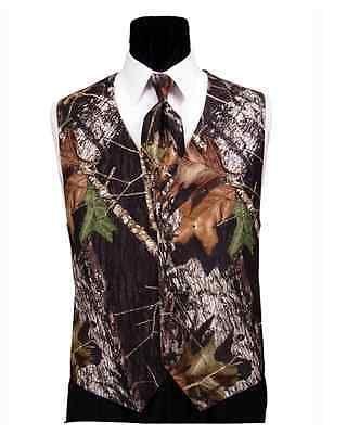Mens Mossy Oak Break up Tuxedo Vest Camo Skinny Tie Camouflage Free Hankie