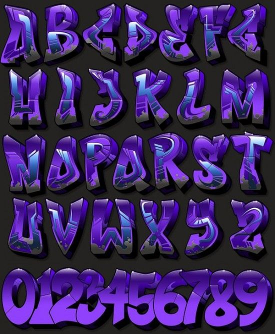 Purple Fonta ABC | 18 Fonts Style of Creator Graffiti Alphabet A-Z Picture and Wallpapers