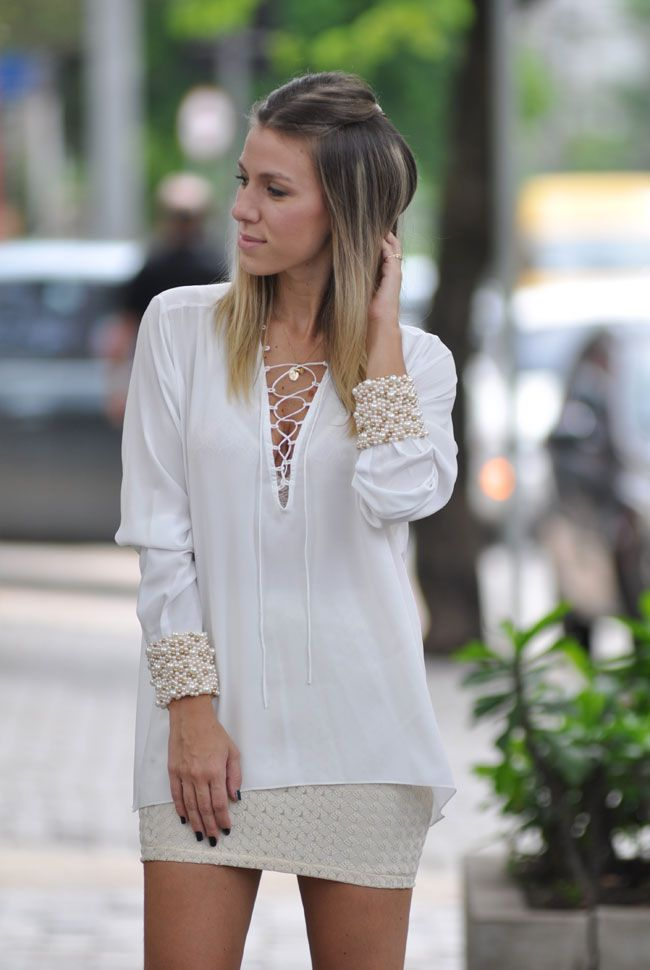 GLAM4YOU - NATI VOZZA - INSPIRACAO - FINAL DE ANO - REVEILLON - CAMISA - BORDADO - SAIA - BANDAGE - BRANCO - WHITE - LOOK - BLOG - VOZZA - GLAM