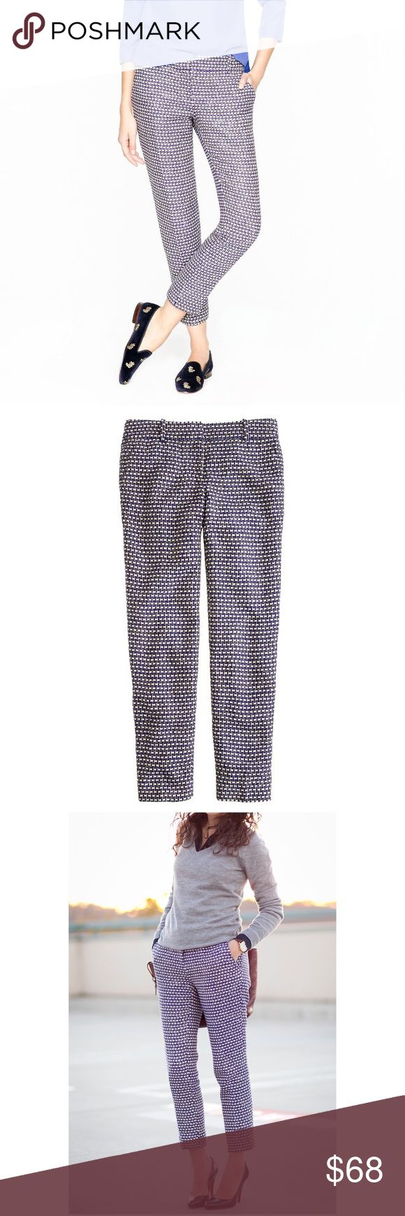 "J. Crew Café Capri In Navy Tweed size 4 $148 🦄 Size 4. Originally $148. ""The famous café capri (one of our top bottoms) gets an extra dose of polish in this lightweight basket-weave tweed our designers handpicked for its graphic colors and subtle sheen—it's woven with tinselly Lurex® threads throughout. Pair it with its matching jacket (plus the pumps, if you dare) for a classic, ladylike spin on the hookup."" Lined. Material is silk, cotton, viscose, & 2% other material. 🦄 J. Crew Pants…"