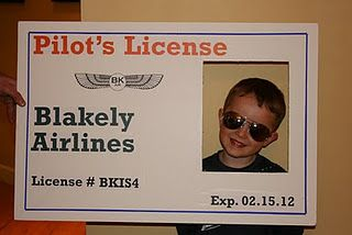 Pilot License photo opp for airplane themed party.  Kids made wood and paper airplanes.