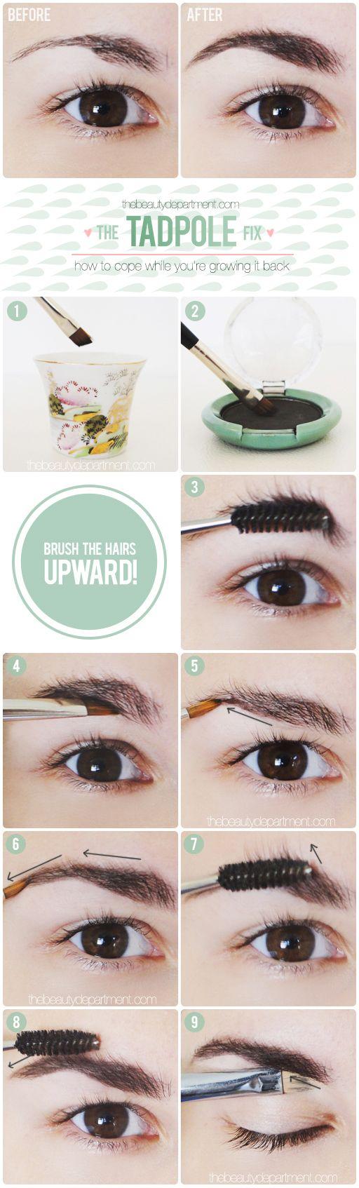 Cómo disimular las cejas depiladas de mas.                                                                                                                                                                                 Más