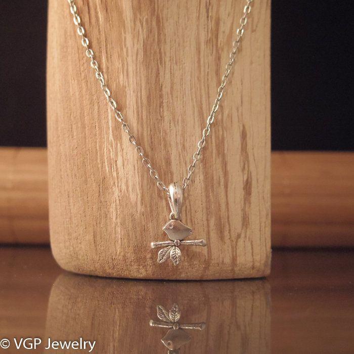 Mini Vogel Ketting: korte zilverkleurige ketting