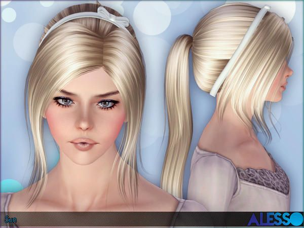 Bun with satin headband hairstyle Sun by Alesso for Sims 3 - Sims Hairs - http://simshairs.com/bun-with-satin-headband-hairstyle-sun-by-alesso/