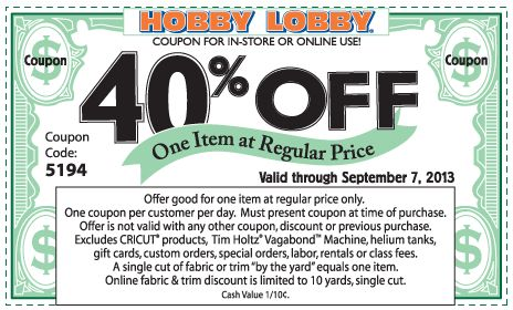Pinned September 6th: 40% off a single item at Hobby #Lobby, or online via promo code 9343 #coupon via The Coupons App