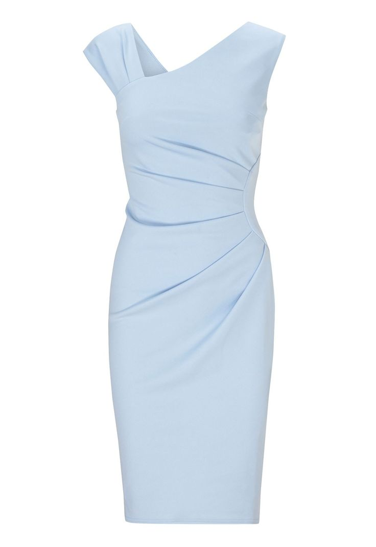 Stylishly elegant in a figure-enhancing bodycon design with ruched detailing, this pale blue party dress is perfect for this summer season! Great as a special occasion option, you can easily dress this up for a lovely wedding or a day at the races. Fitted silhouette Triple strap detail Length: 102cm Team LBD recommends: Stand out at the races this summer with a chic fascinator and heeled sandals.