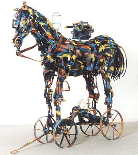 Willie Bester - horse sculpture at strata art fair at saatchi gallery 2013
