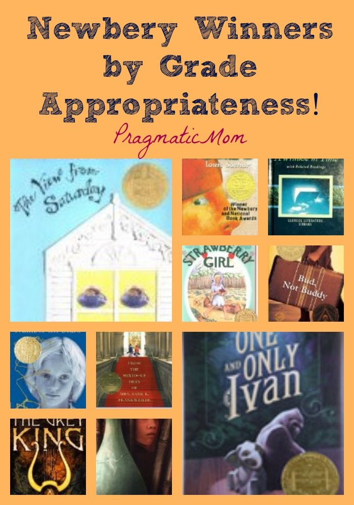 Newbery Winners by Grade Appropriateness! | PragmaticMom  | We took a look at the recommendations and largely concur, although there are a few we might nudge up or down just a tiny bit. Although this is a good baseline for general purposes, it's important to note that appropriateness may vary depending on an individual child's emotional maturity and comprehension.