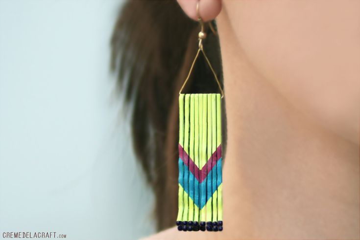 DIY Chevron Earrings:    Bobby Pins — Piece of Cardstock or Cardboard — White Spray Paint or Nail Polish — Acrylic Paint or Nail Polish (colors of your choice) — Clear Nail Polish — 2 Thin Pieces of Wire — Earring Hooks — Paintbrush — Pencil