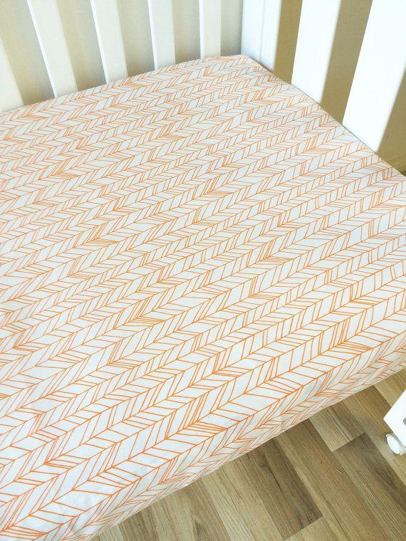 Rustic orange herringbone - modern Fitted Cot Sheet, Crib Sheet, Nursery Fitted sheet, geometric, chevron