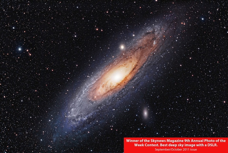 M31 The Andromeda Galaxy. This image was winner of best DSLR deep sky in the Skynews Canada astrophotography contest 2010/2011. It has also been used often by them advertising this annual contest. By Stardaug. Ontario, Canada