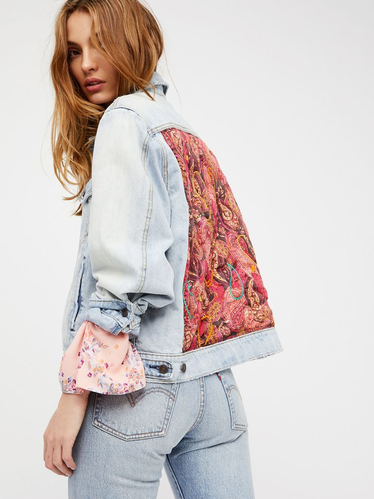 Free People - Paisley Quilted Denim Jacket