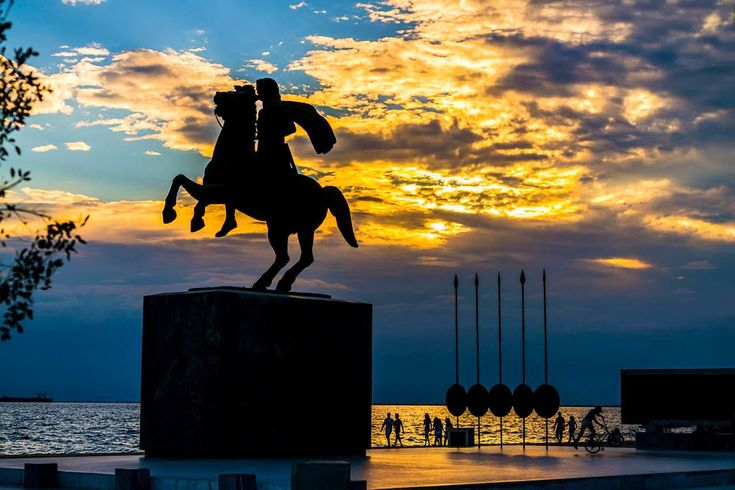 Alexander The Great Statue    The imposing bronze statue of Alexander the Great riding his faithful companion of 20 years, Bucephalus, dominates Thessaloniki's Nea Paralia, #Macedonia a few meters away from another landmark, the White Tower. This is one of the city's most photographed sights, which was erected in 1973 with public fundraising. It was unveiled in 1974. The equestrian statue of the Macedonian commander was created by the sculptor Evangelos Moustakas and is the tallest in Greece