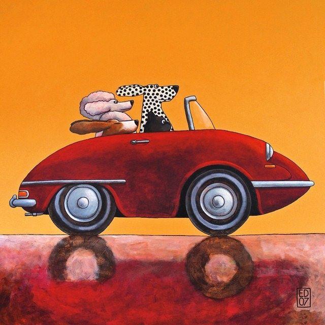 https://flic.kr/p/orcWpC | #011 #citroen #ds #car #dogs #poodle #dalmatian #terrier #basset #red #cabrio #ocre #background #acrylic #painting by #edart #karikatuur #illustration #humor #cabriolet #hond en #auto