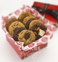Small George Box — 13 gourmet cookies gift wrapped in a shiny red box with ribbon and a gift tag.