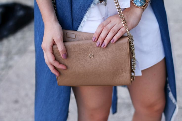 aigner handtasche beige goldene details