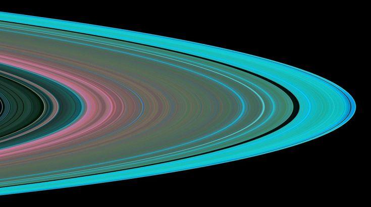 A imagem simulada dos anéis de Saturno