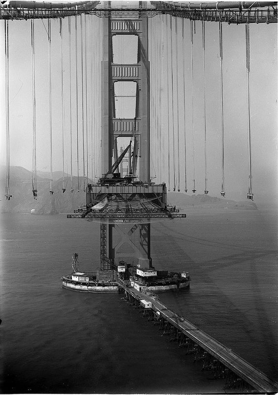 fuckyeahvintage-retro:  The Golden Gate Bride during construction in 1935