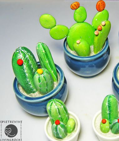 Painted cactus stones. Could be cool for tck's to make