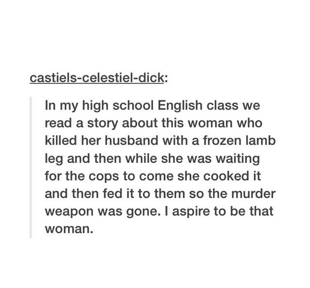 Lamb to the Slaughter, I remember that one! It was a weird lesson because we were learning punctuation...