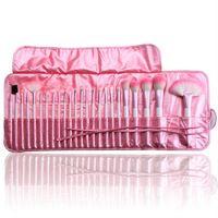 Pelo sintético Profesional 24 piezas de maquillaje de color rosa juego de brochas Cepillos y herramientas del maquillaje Kit Marca Maquillaje juego de brochas de caso