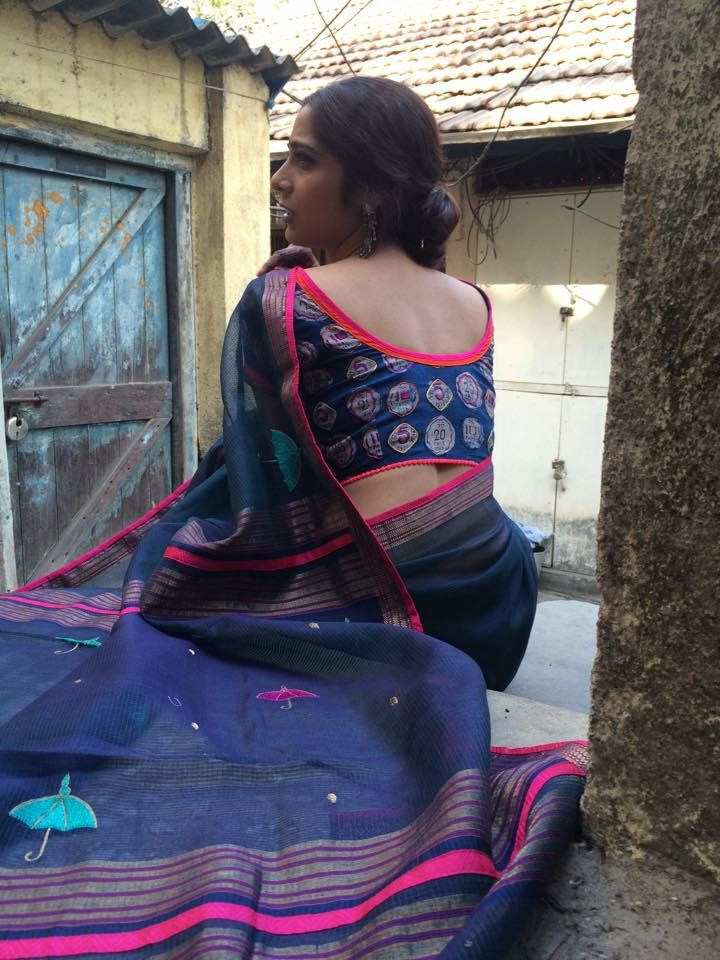 Blue and pink saree, love the blouse!