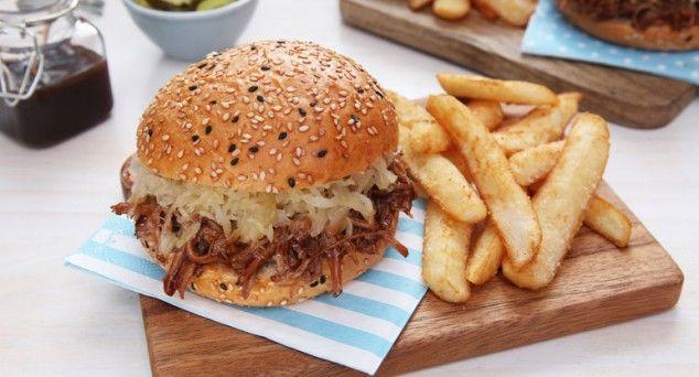 Simply impressive. 3 Ingredient Pull Pork Burgers with Sauerkraut.