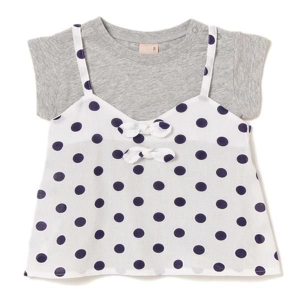 ドット柄キャミ×Tシャツセット - 半袖|petit main(プティマイン) 公式通販 - ナルミヤオンライン