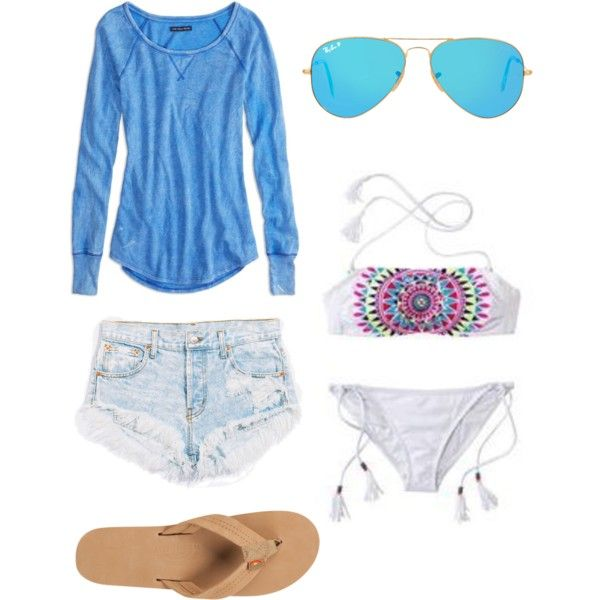 Summer Surfer Girl Look by rosie-sweeney815 on Polyvore featuring Mode, American Eagle Outfitters, Rainbow, Ray-Ban, women's clothing, women's fashion, women, female, woman and misses