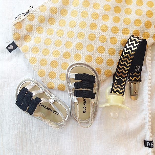Summer Ready! Black and Gold Chevron Pacifier Clips only $10. Visit www.berkobaby.com