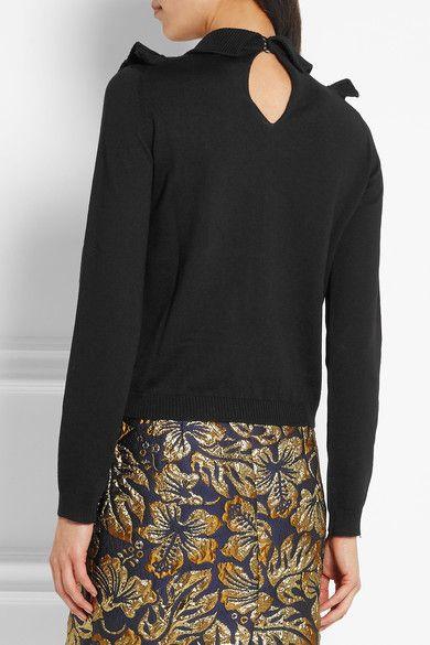 Prada - Ruffled Wool Sweater - Black - IT44