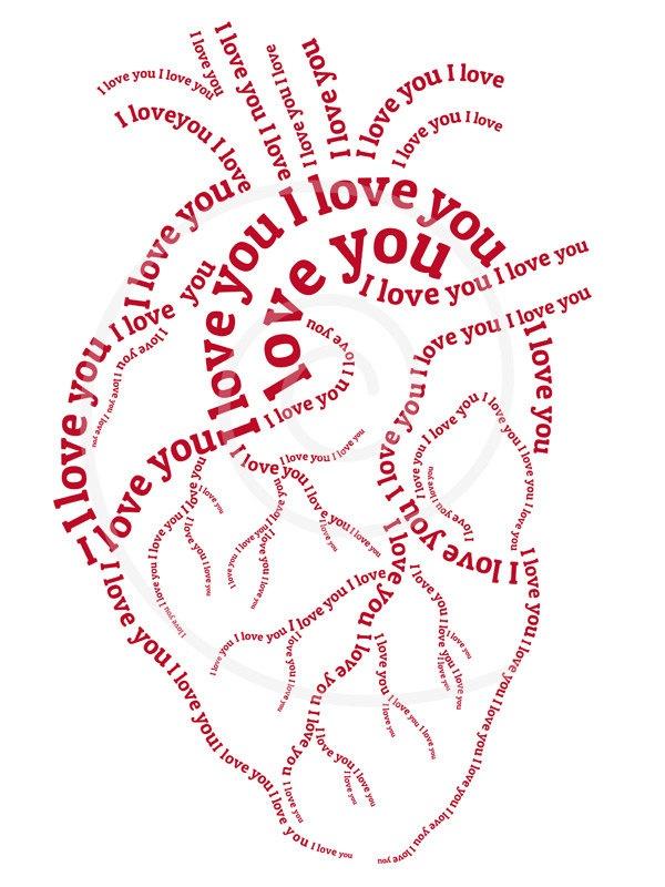 Red Human Heart Word Art Typographic Illustration Typography