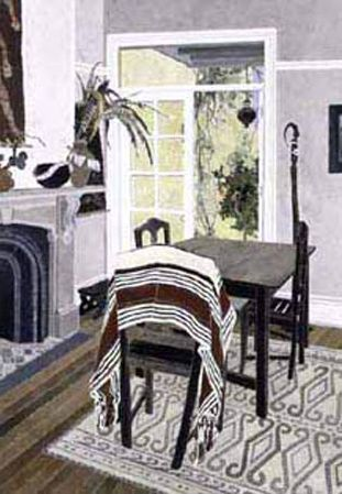 CRESSIDA CAMPBELL Interior with Striped Cloth (2002)