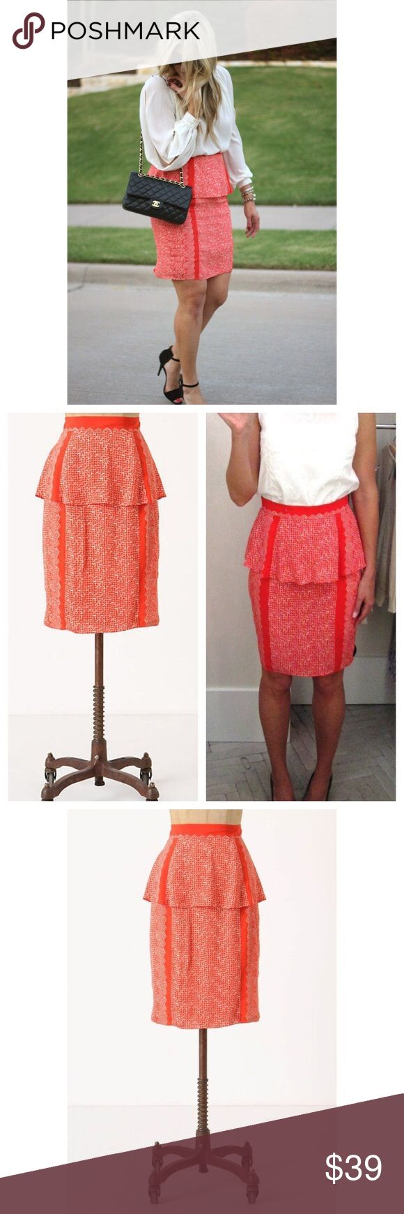 """Anthropologie Broken Levels Skirt $138 🌈 Size 4. Plenty by Tracy Reese from Anthropologie. Originally $138. """"A flutter of playful peplum endears itself to this pencil's silhouette."""" Rear zipper. Lined. Body is 100% rayon. Length is 23.5"""" according to the Anthropologie website. Color is an orange / red so I listed it as both. 🌈 Anthropologie Skirts"""