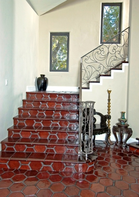 stained by customer saltillo tile hexagon 8x8 in reddish brown
