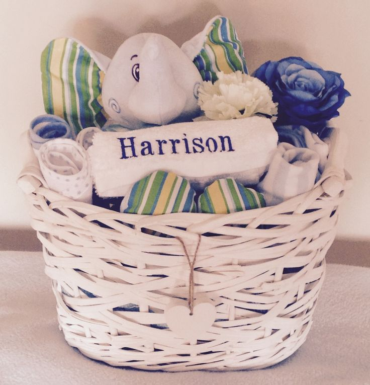 Image of Eddie the Elephant - Personalised Baby Boy Gift Basket