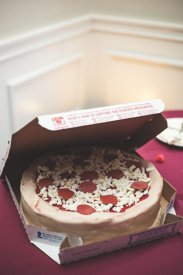 Non-traditional wedding cake. A pizza cake for the Groom's Cake!  Made by Sweets by E. Venue: Belmont Country Club in Ashburn, VA | Photography: http://www.maddiekdoucet.com/ #fallwedding #groomscake #pizzacake