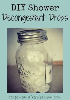 """DIY Shower Decongestant """"Drops""""! Whether it's allergy or cold and flu, you'll want to have some of easy-to-make all natural decongestant drops to help you breathe better and ease sinus congestion! Great homemade gift for anyone under the weather! Check out how simple these are to make!"""