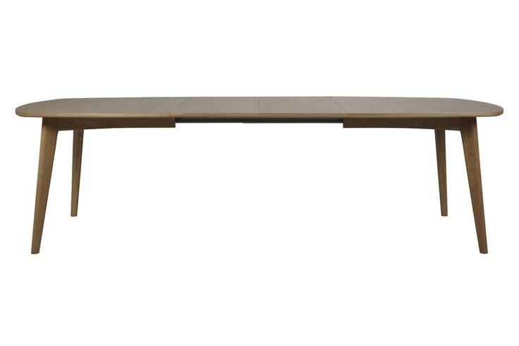 Massiv/finért oljebehandlet eik. Kan bli 270 cm. ved bruk av tilhørende ileggsplater- kjøpes separat.