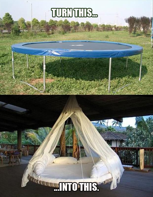 great redo of an old trampoline//Outdoor Beds, Diy Ideas, Trampolines Beds, Hanging Beds, Awesome, Cool Ideas, House, Porches Swings, Crafts