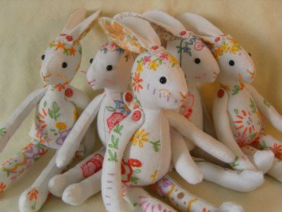 Bunnies made from vintage linens