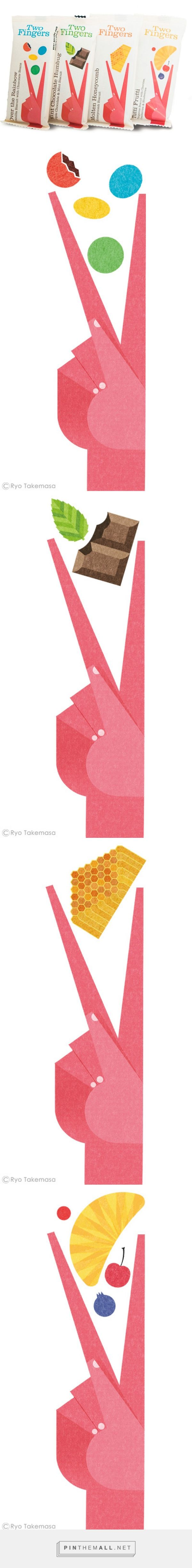 Two Fingers / Packaging illustrations for Two Fingers, a flavored biscuit…
