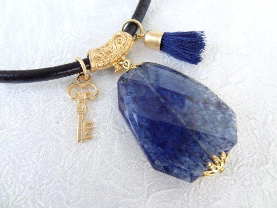 Gold Blue Quartz Necklace Blue Stones PendantTurkish