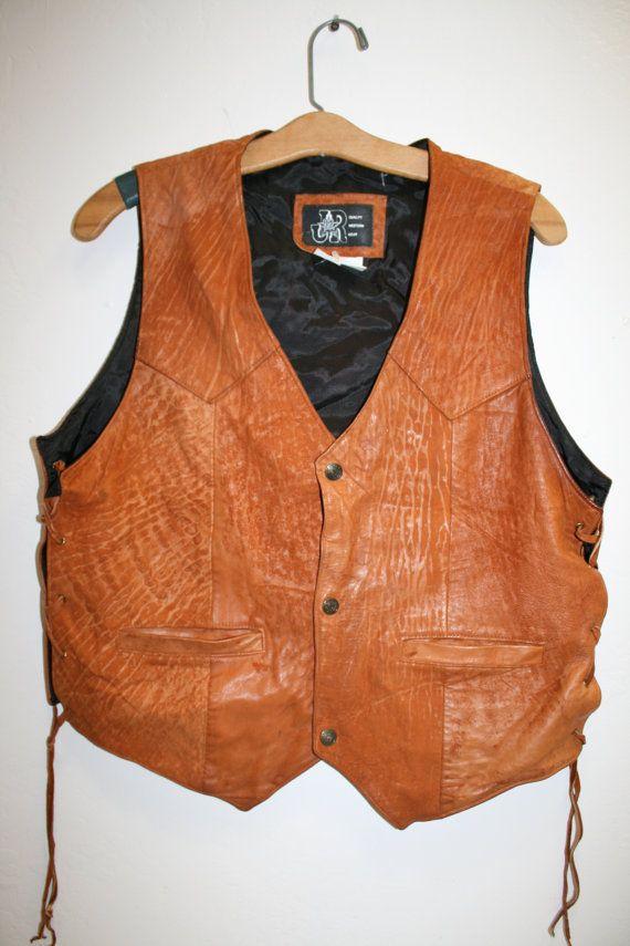 Jr Western Wear Leather Cowhide Brown Vest Mens Med