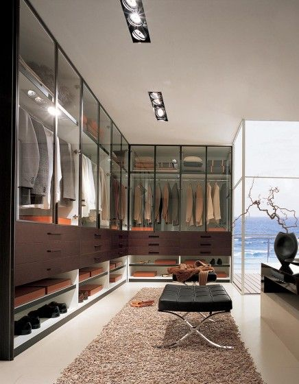 Italian wardrobe with hinged glass doors and timber draws from the Pratica range