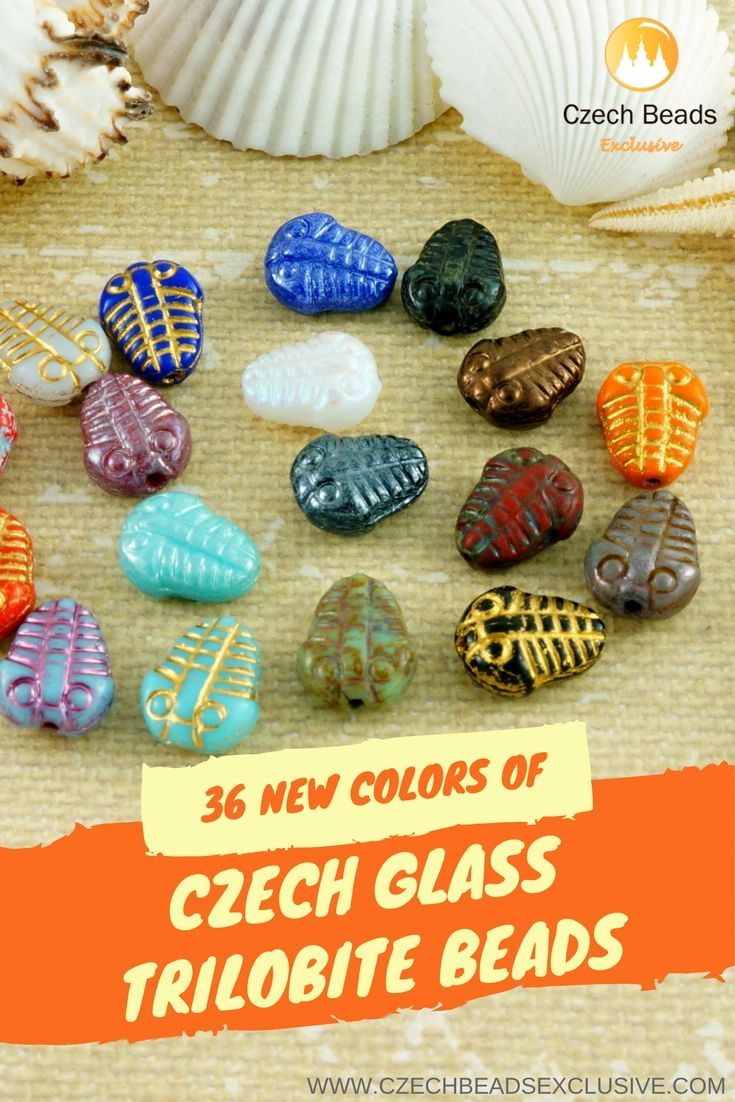 CZECH GLASS TRILOBITE BEADS - http://www.CzechBeadsExclusive.com/+trilobite  36 New Colors - Buy now with discount!  ☀️Hurry up - sold out very fast! ~ click link on photo!  SAVE them!  Lowest price from manufacturer!  Get free gift!   1 shipping costs - unlimited order quantity!  www.CzechBeadsExclusive.com --- #seashells #seashell #seashellbeads #summerbeads #CzechBeadsExclusive #czechbeads #glassbeads #bead #beaded #beading #beadedjewelry #handmade #trilobite #trilobites #trilobitebeads