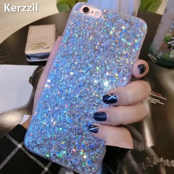 Kerzzil Candy Shining Powder Sequins Case For iPhone 7 6 6S Plus Phone Soft Silicone Glitter Cover Back For iPhone 6 7 6S Capa